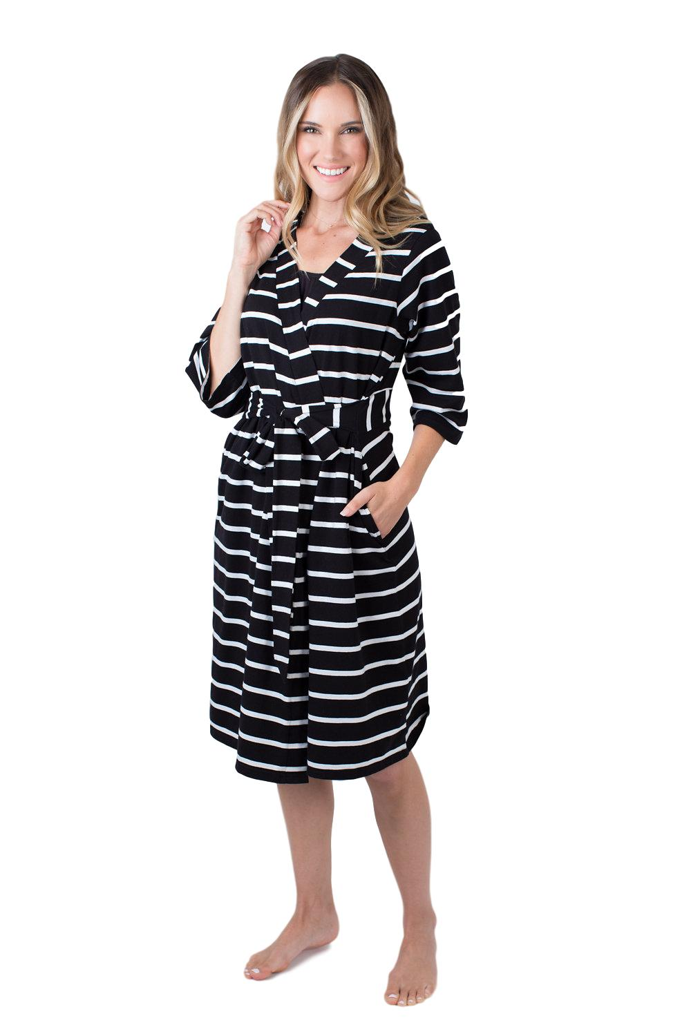 Black Striped Delivery Robe