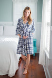 Blue Gingham Robe & Whale Baby Gown Set