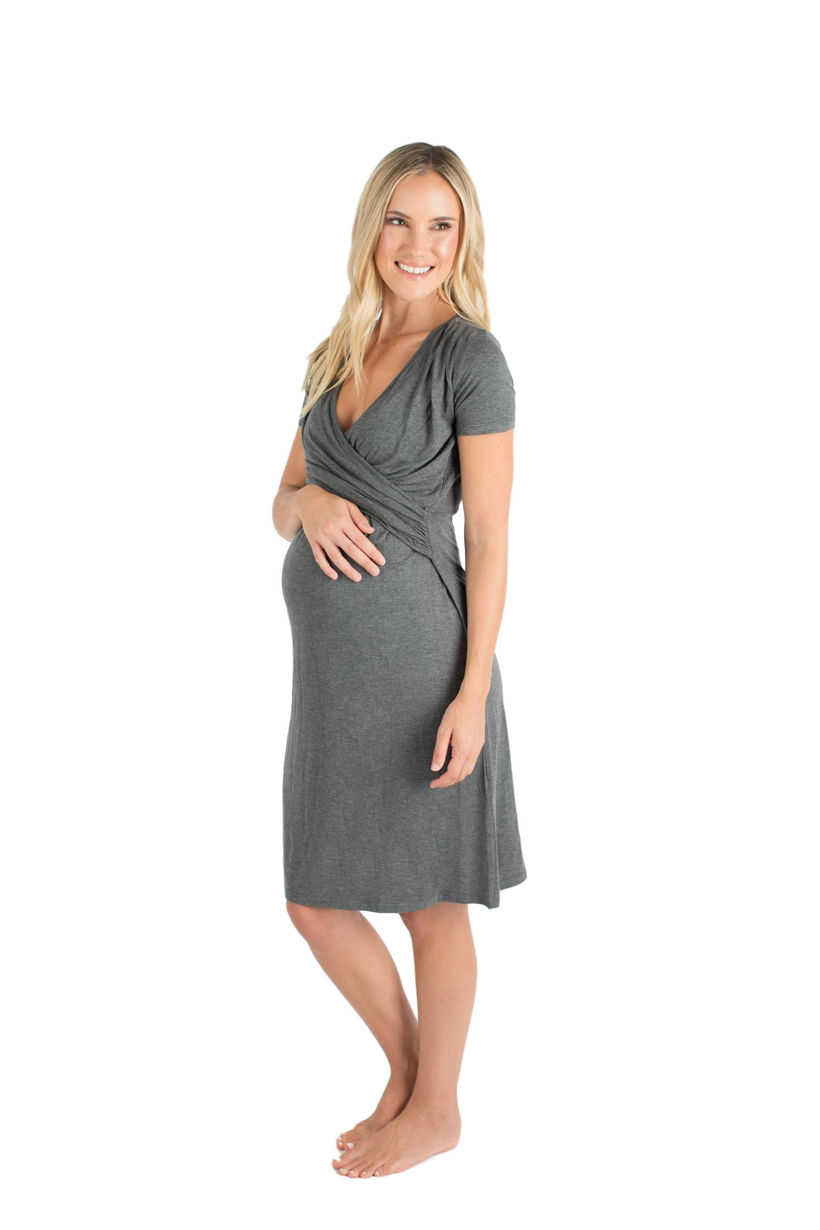 cf91f98fc1 Baby Be Mine The Alyssa Ultra Soft Maternity   Nursing Nightgown Dress Dark  Grey