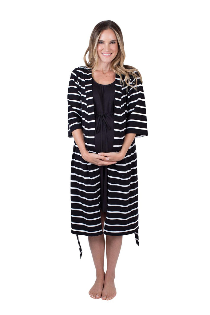 Black Stripe Delivery Robe & Black Labor Gown Set