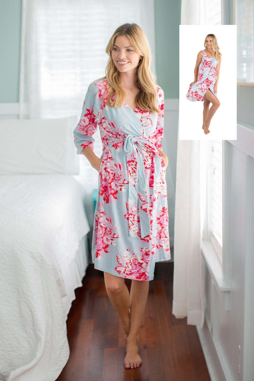 Blue Pink Floral Maternity Labor And Delivery Gown Matching Robe