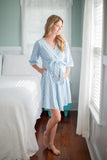 Nicole Maternity Delivery Nursing Robe Blue Dotted