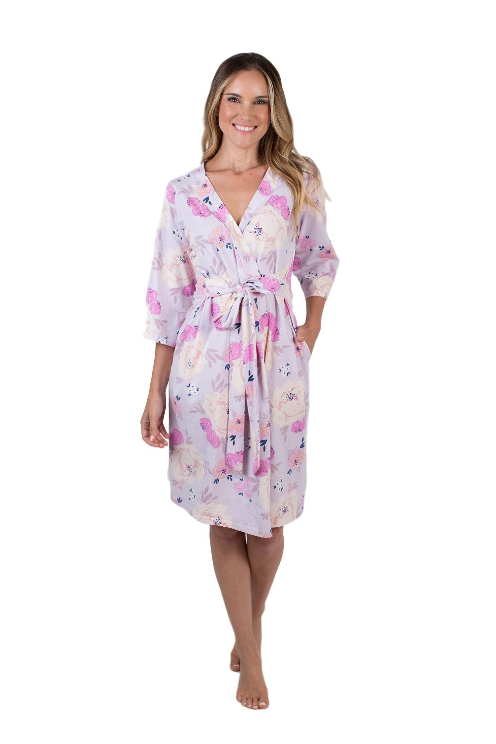 Purple, pink, and cream flowered print. Anais is the print for you! Pack your hospital bag or give the perfect gift for mom with this hospital robe. 3/4 sleeve length for easy IV access, belt tie for comfortable closure, and knee length for full coverage.
