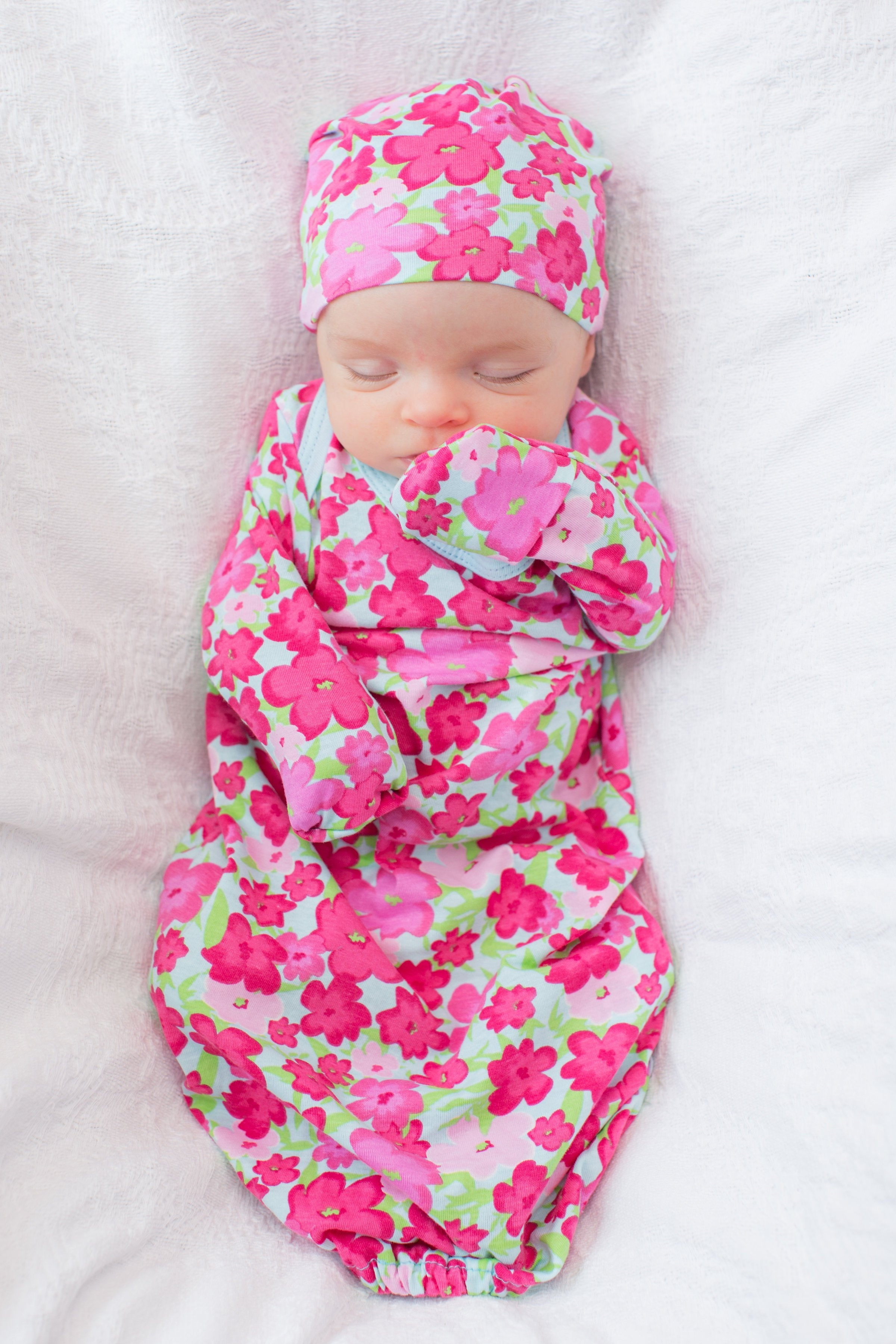 Brooke Delivery Robe & Matching Baby Receiving Gown & Newborn Hat Set