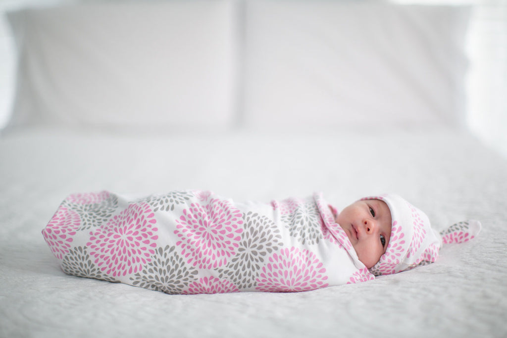Lilly Floral Swaddle Blanket and Newborn Hat Set