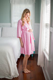 Molly Maternity Delivery Nursing Robe Pink Dotted