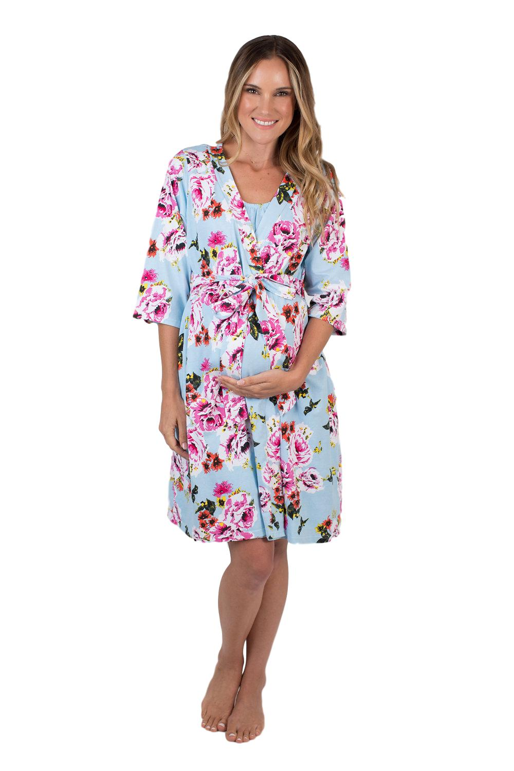 Isla Floral Maternity Delivery Nursing Robe
