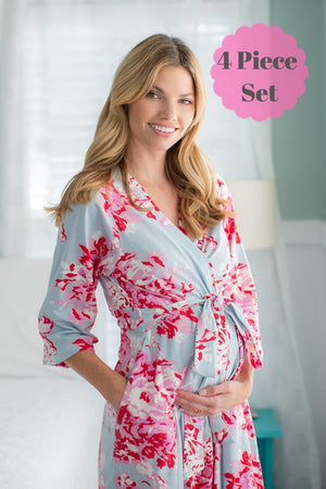Mae Maternity Nursing Nightgown, Robe & Baby Receiving Gown Set