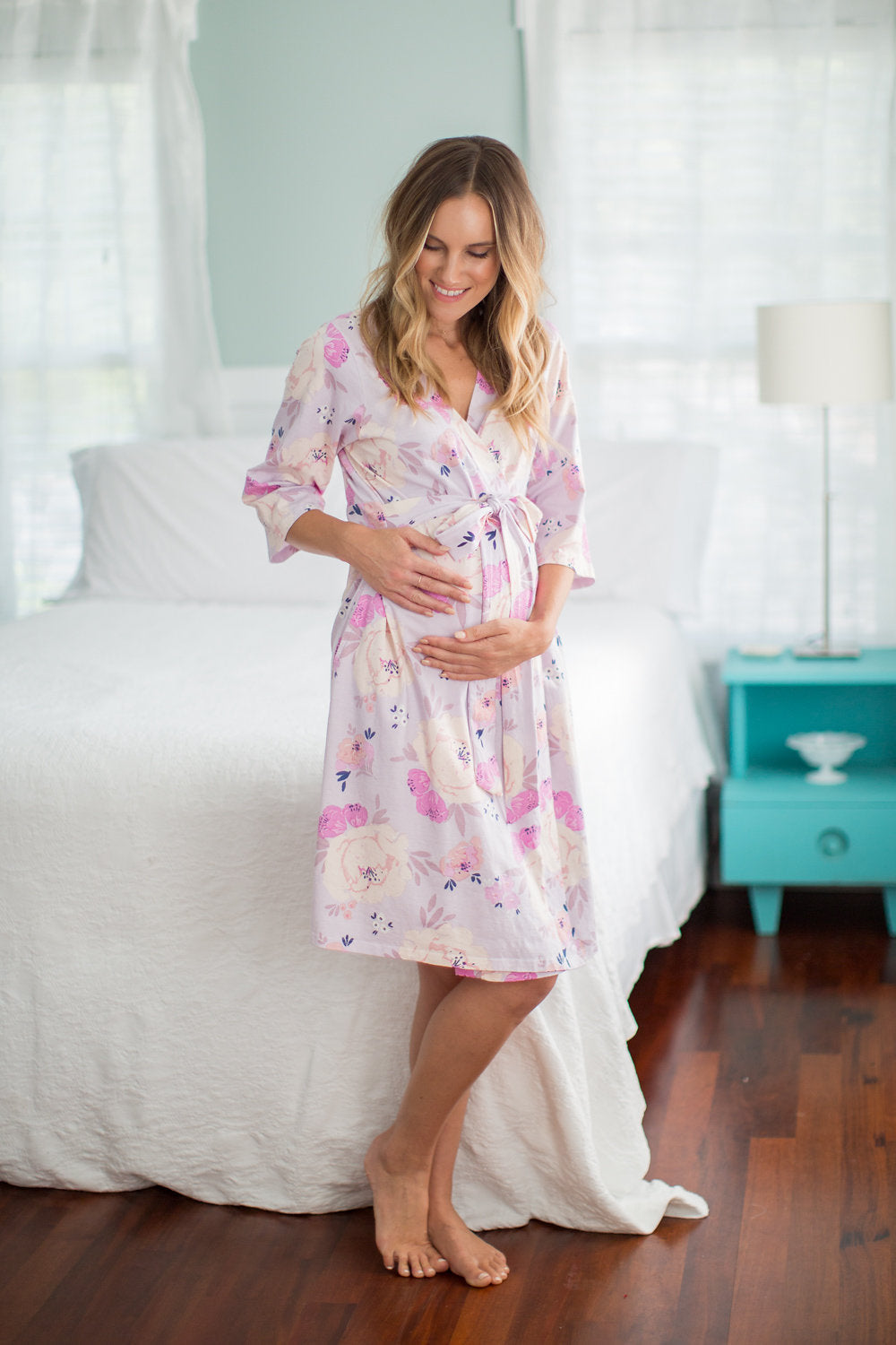 Anais purple and pink printed robe. Match with daughter for spa day with mom. Anais is a dainty, purple and pink flowered print.