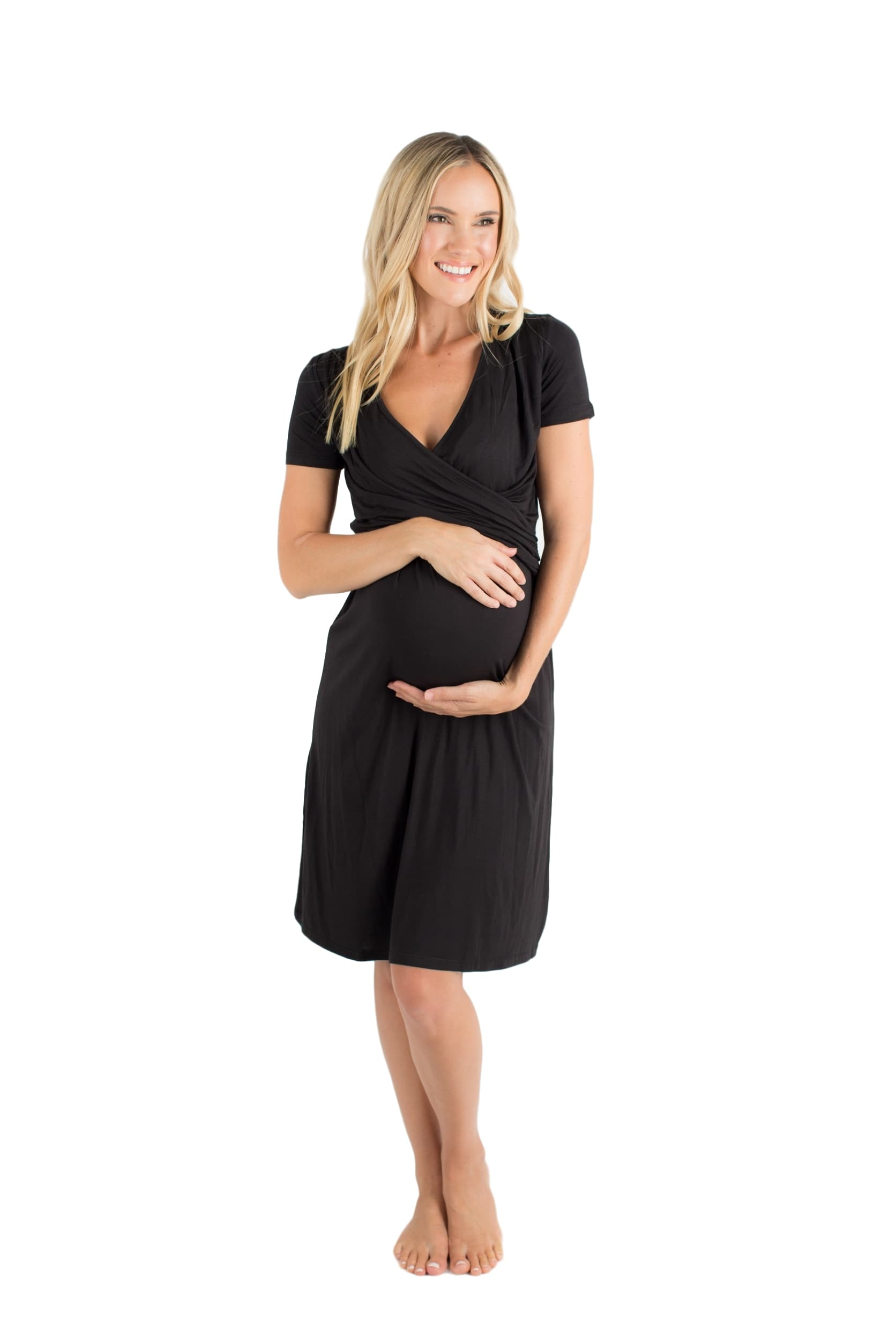 Black Maternity & Nursing Dress, super soft. Wear with flip flops or to sleep, this little beauty is your new favorite pregnancy dress.