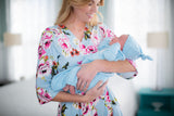 Isla Robe & Light Blue Hello I'm New Here Baby Gown & Hat