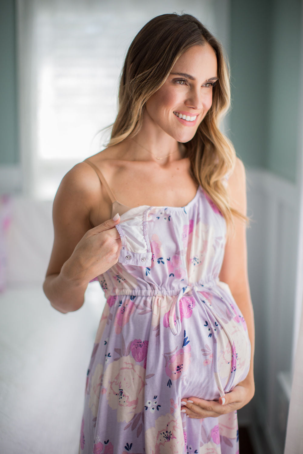 Easy snap shoulder with stretch waistband and neckline. Wrap-style dress for hospital wear and maternity easy. Save time. Shop online for Black Friday Sale. Cyber Monday deal. Get your matching set for the family from Baby Be Mine Maternity. Maternity photoshoot with soft clothing. Stretchy and soft fabric mom and baby will love.