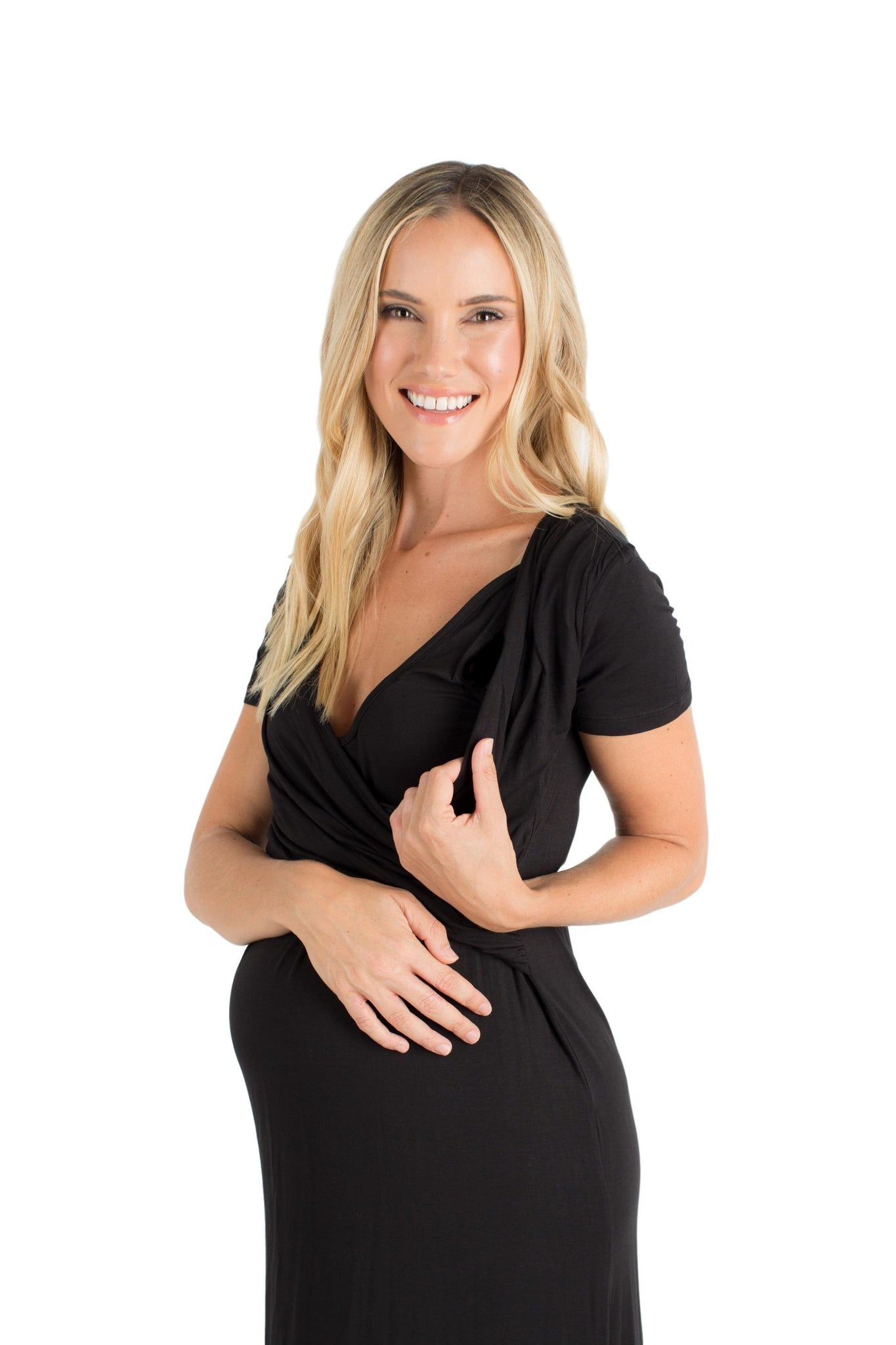 Baby Be Mine The Jenna Ultra Soft Maternity & Nursing Nightgown Dress Black