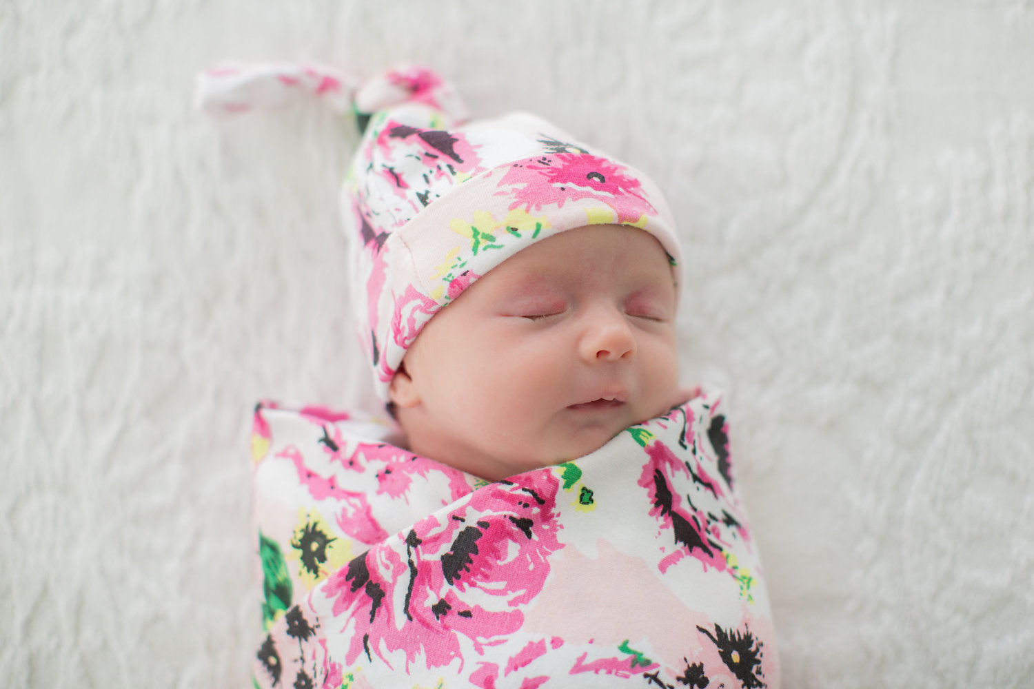 Amelia Pink Floral Swaddle Blanket & Matching Newborn Hat Set