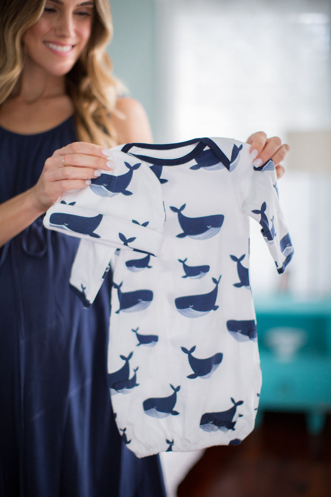 Navy Labor Gown & Whale Baby Gown/ Hat Set