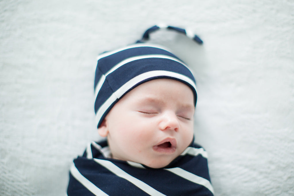 Navy Stripe Delivery Robe with Matching Swaddle Blanket & Hat