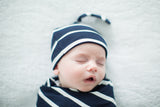 Navy Stripe Delivery Robe & Swaddle Blanket Set