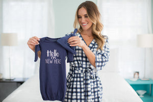 "Blue Gingham Delivery Robe & Navy ""I'm new here"" Baby Gown Set"