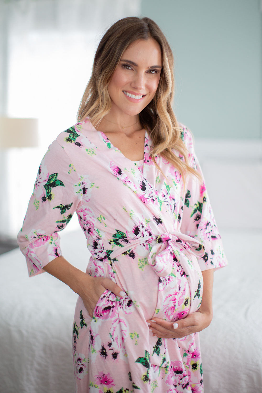 Amelia Delivery Robe with Matching Swaddle Blanket & Hat