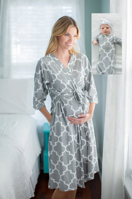 Phoebe Delivery Robe with Matching Baby Gown & Newborn Hat
