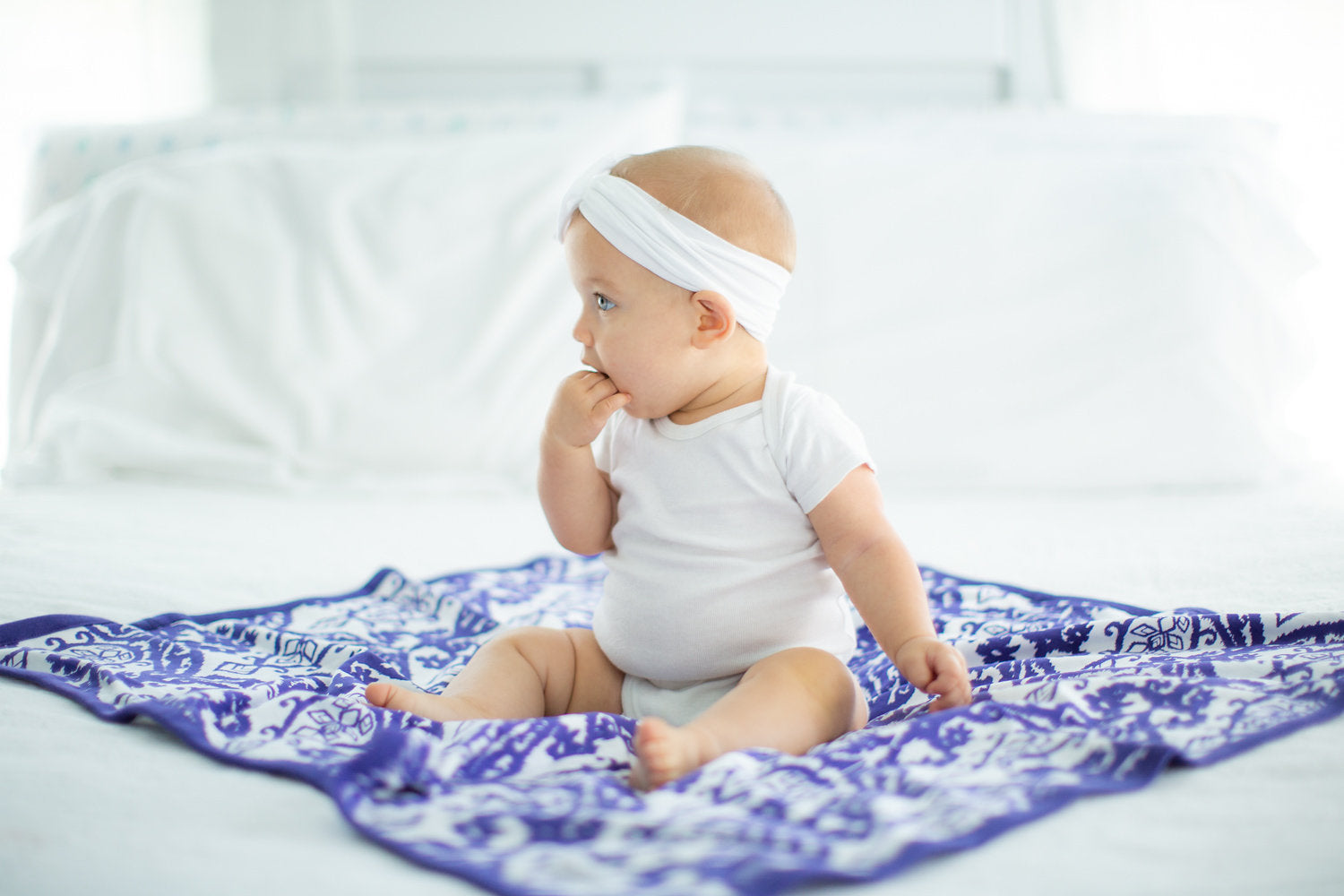 Baby Girl White Headband Soft and Stretchy