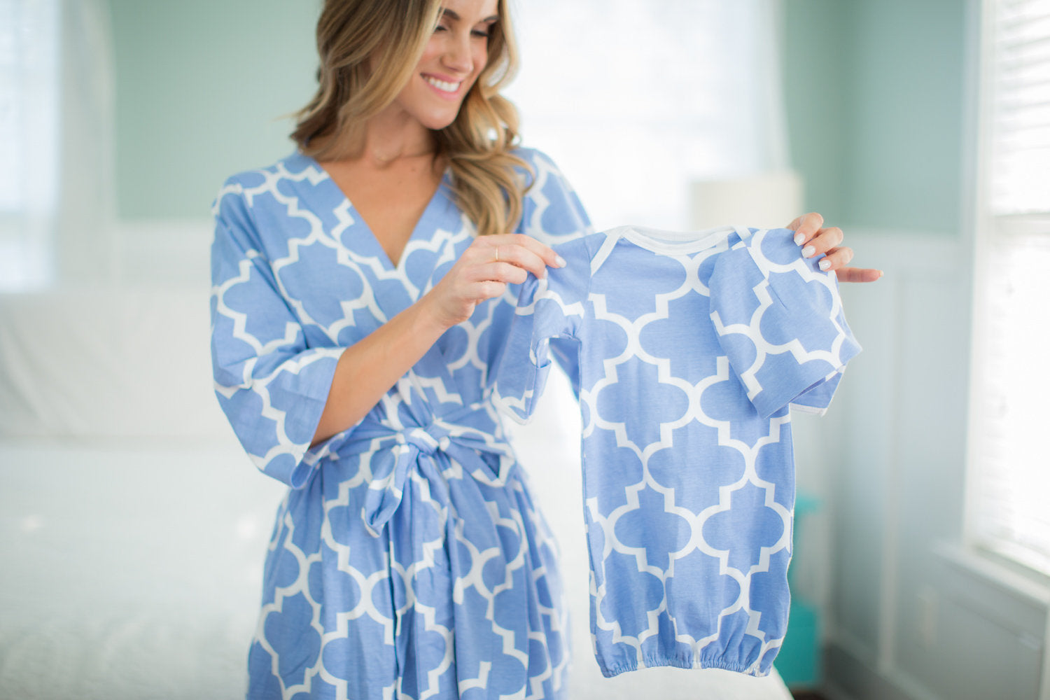 Marin Maternity/Nursing Nightgown, Robe & Baby Receiving Gown Set ...