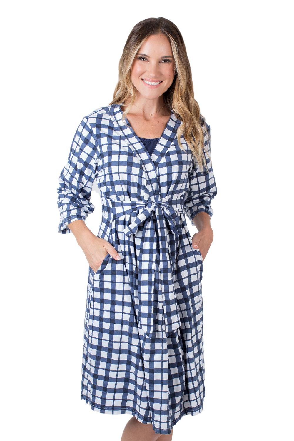 Blue Gingham Maternity Delivery Robe