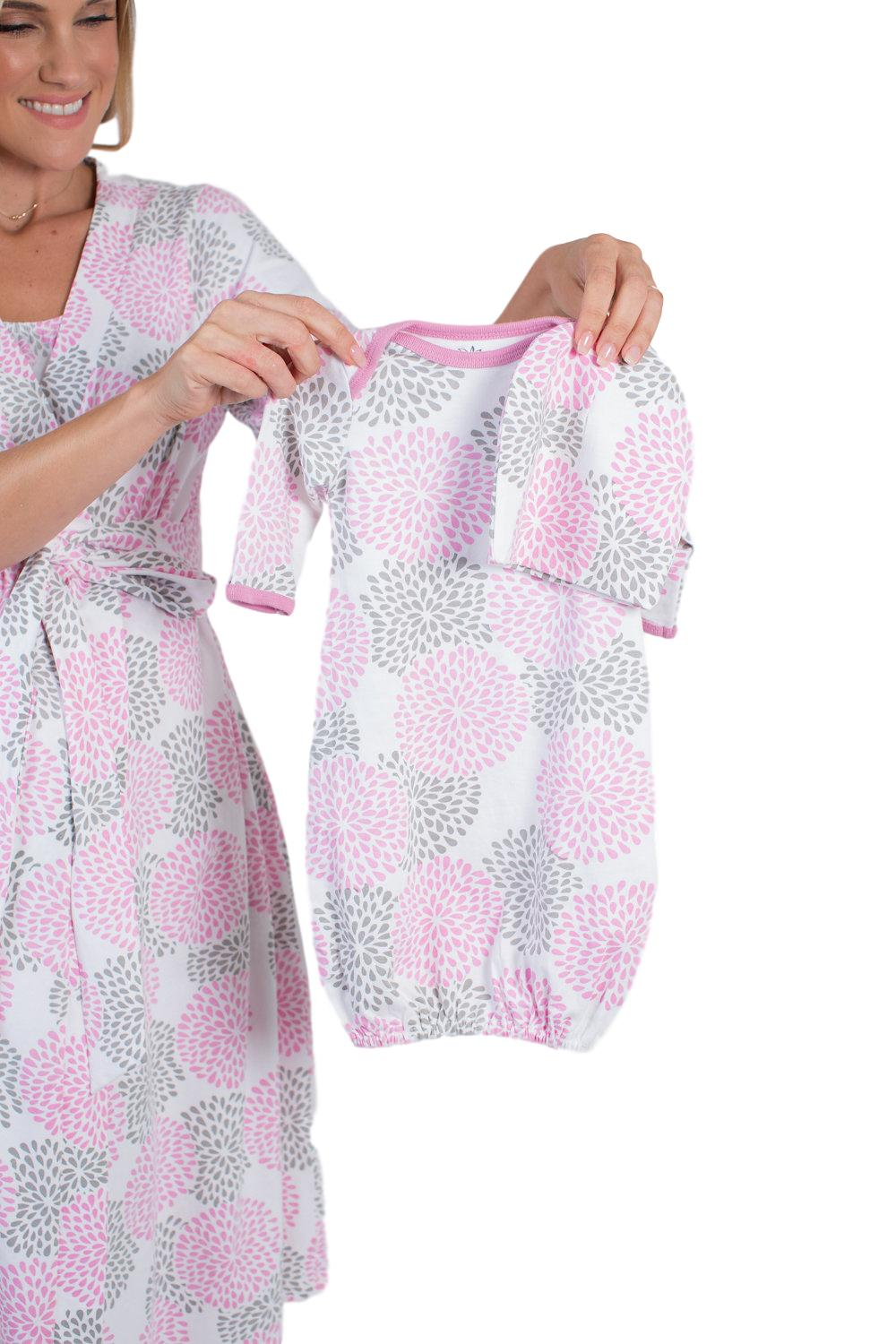 Lilly Maternity/Nursing Nightgown, Robe & Baby Receiving Gown Set