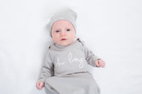 Oh Boy! Grey Baby Receiving Gown & Hat