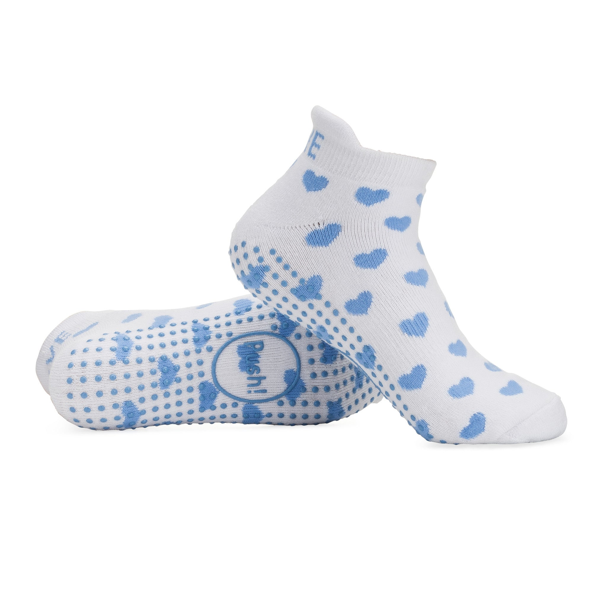 Push! Labor Socks - Blue & White Hearts