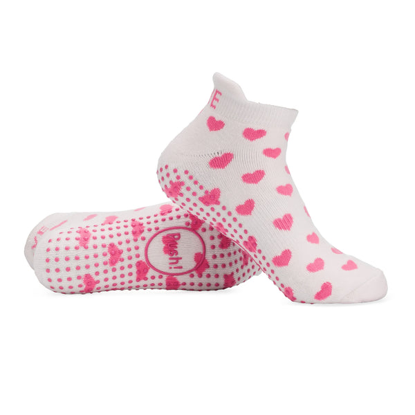 Push! Pink and White Hearts Labor Socks