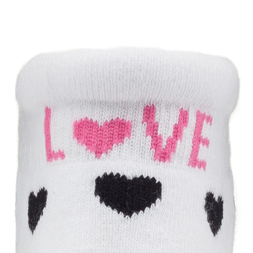 Push! Labor Socks - Black & White Hearts