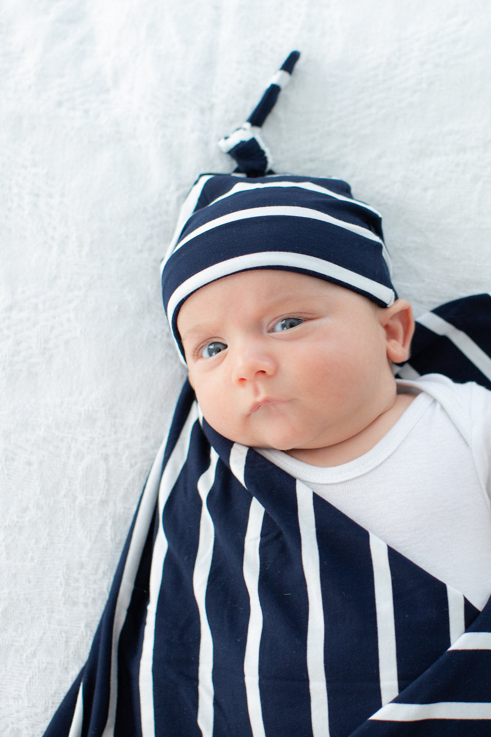 Navy Striped Swaddle Blanket and Matching Knotted Hat Set