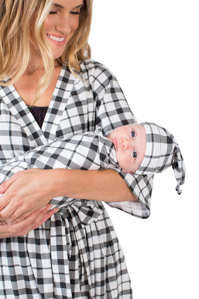 Black Gingham Delivery Robe with Matching Swaddle Blanket & Hat