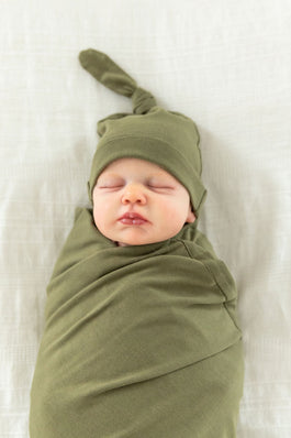 Olive Green Swaddle Blanket & Matching Newborn Hat Set