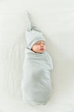 Grey Swaddle Blanket and Hat Set