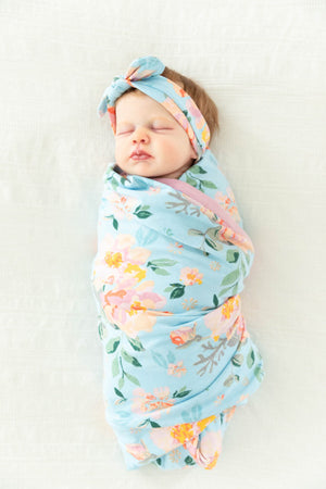 Jade Baby Girl Swaddle Blanket & Headband Set