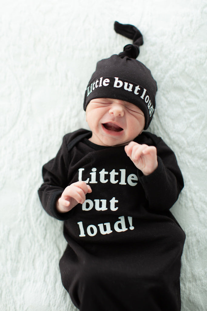 Black Baby Gown with Matching Knotted hat - Little but Loud