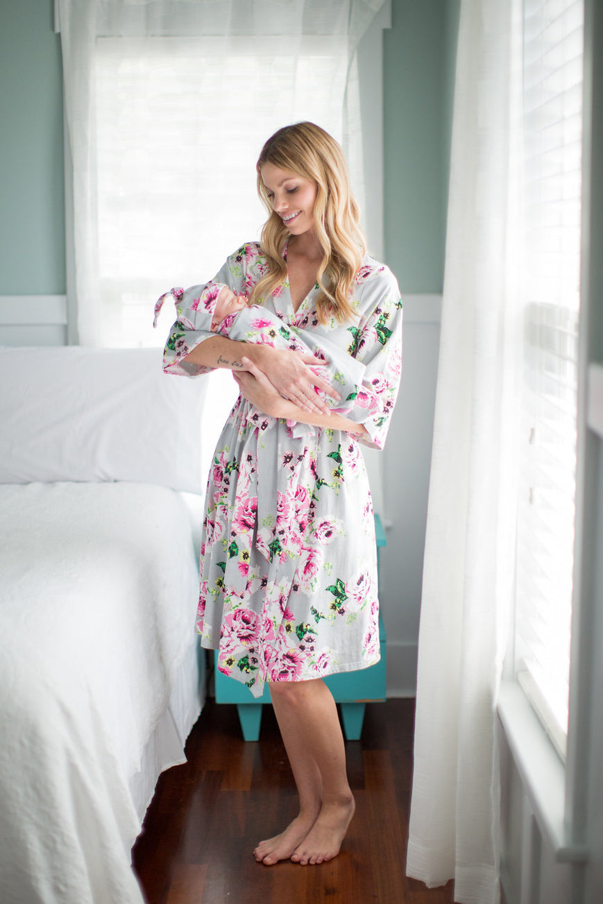 Olivia  Delivery Robe with Matching Swaddle Blanket & Hat