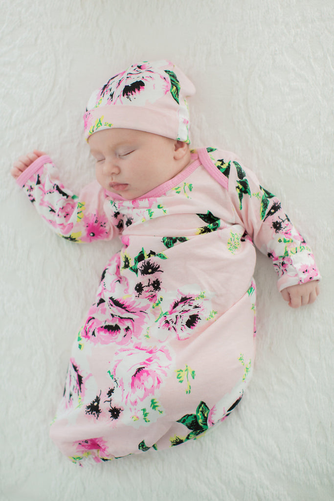 Amelia Floral 3 in 1 Maternity Labor Delivery Nursing Gown & Matching Newborn Going Home Set