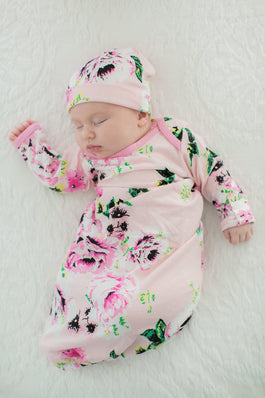 Amelia Floral Baby Coming Home Outfit & Matching Newborn Hat Set 2pc.