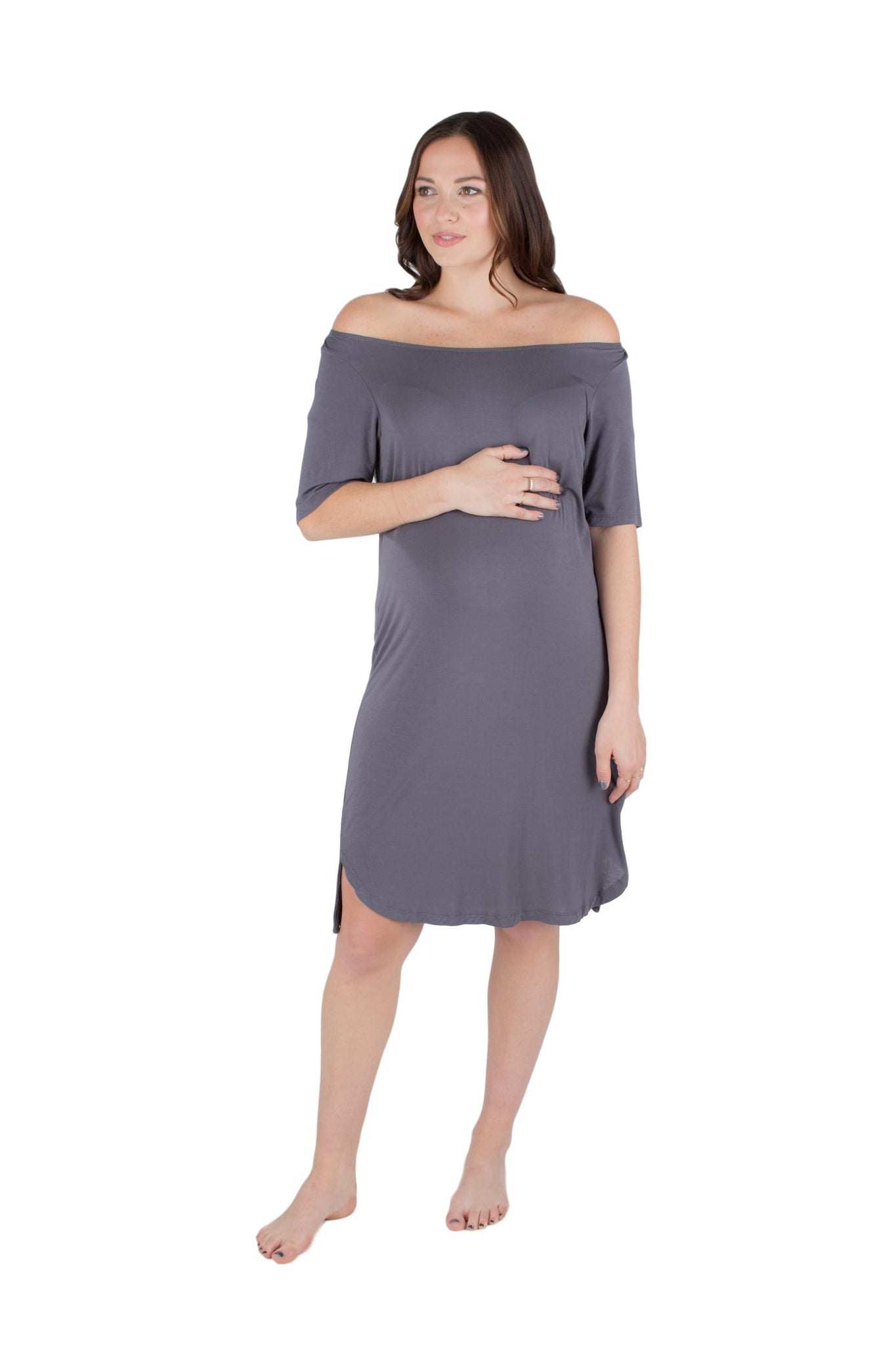 Off Shoulder T-Shirt Maternity/ Nursing Nightgown Dress Grey