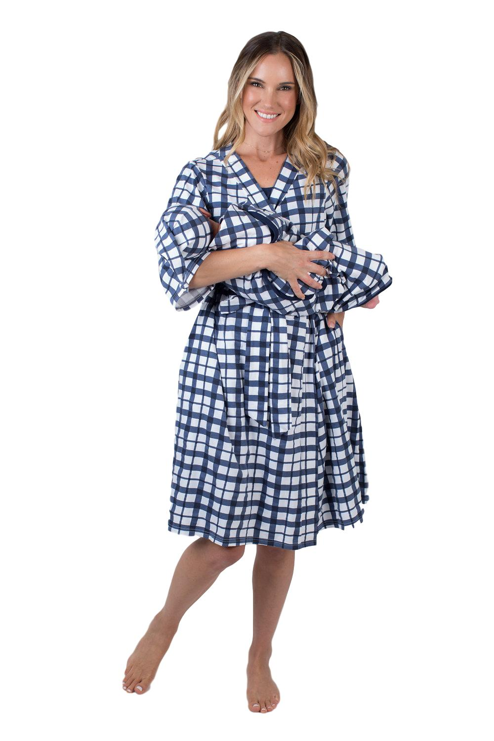 Blue Gingham Delivery Robe & Swaddle Blanket Set