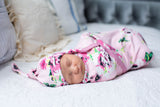 Amelia Swaddle Blanket Set & Matching Hat & Headband