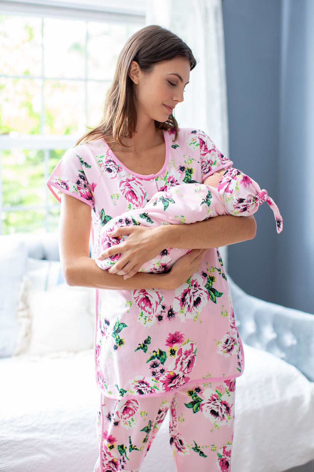 Amelia Maternity Nursing Pajamas & Baby Swaddle Blanket Set