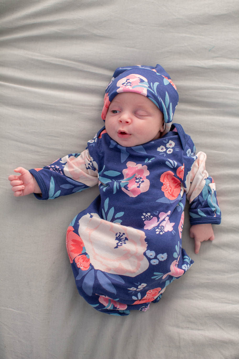 Annabelle Floral Baby Gown and Hat Set