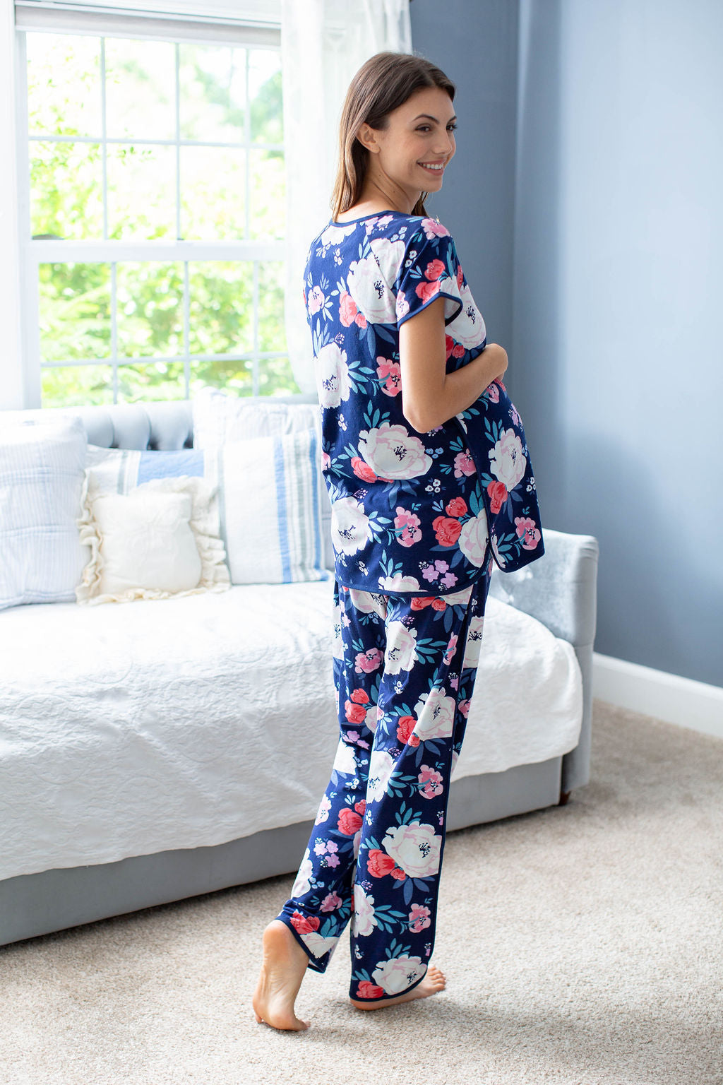 "Annabelle printed mommy PJs for easy breastfeeding, postpartum care, and house loungewear. Pick your print at the ""Shop by Print"" tab."