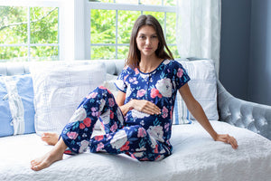 Annabelle printed maternity pajamas. Cream, red, pink, and light blue flowers against a beautiful navy background. A perfect print for baby girl or baby boy.
