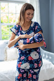 Annabelle Maternity Nursing Pajamas & Baby Swaddle Blanket Set