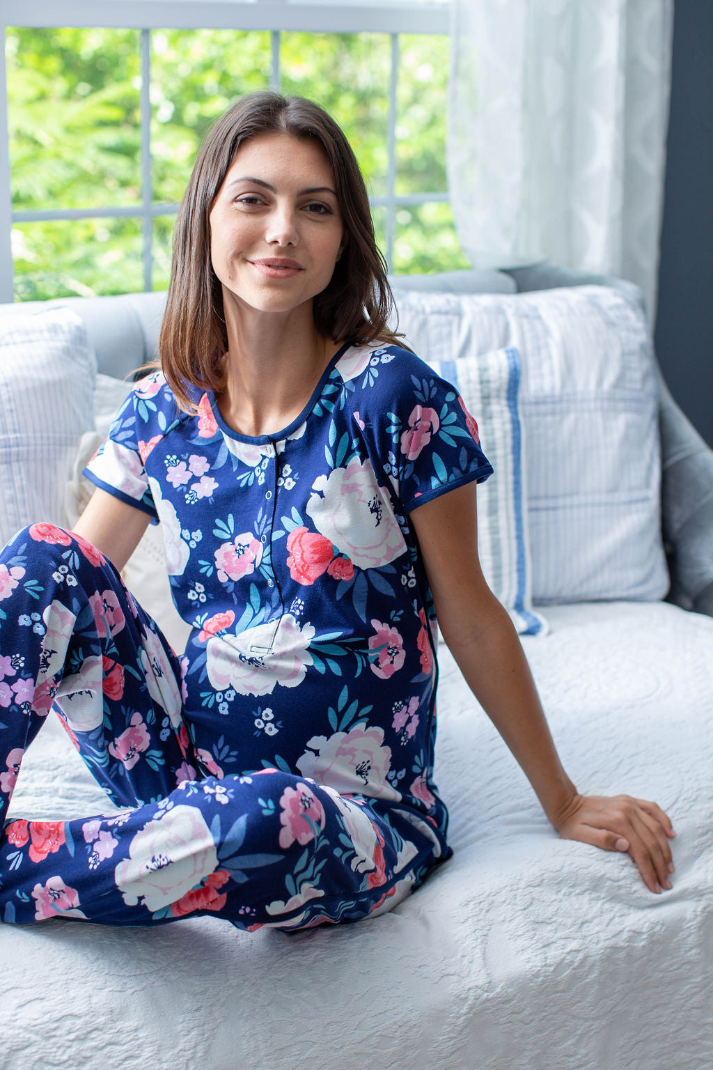 Annabelle printed maternity pajamas for mom. Elastic waistline, snap enclosures on shirt for breastfeeding, and a stylish dolphin hem.
